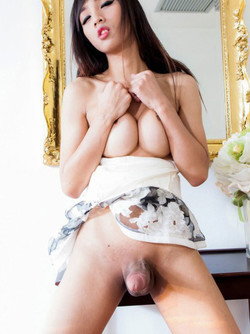 See asian ladyboy cock and hairy balls